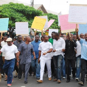 """REPORT: Youths protest in Imo State over recent """"visits"""" from EFCC."""