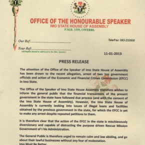 Imo State House of Assembly throws a soft punch at EFCC.