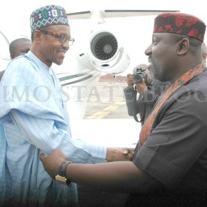 PHOTOS: Gen.Muhammadu Buhari meets with Okorocha in Owerri.