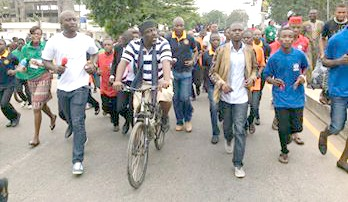 PHOTOS: Governor Okorocha at 52;  leads walk across major streets of Owerri.