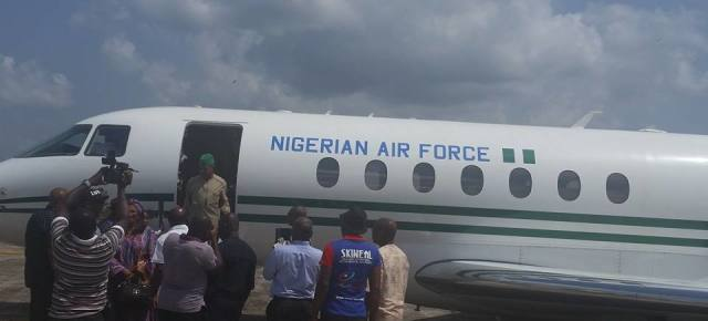 PHOTO: Deputy Speaker, Ihedioha arriving Imo Airport today aboard presidential jet.