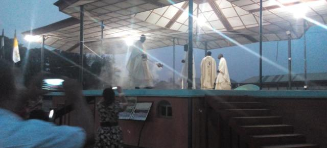 DESECRATION: Arch Bishop Obinna holds reparation mass to cleanse Odenigbo Pavilion.