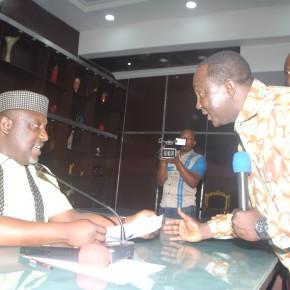 Gov.Okorocha meets with NLC President, Comrade Ayuba Wabba.