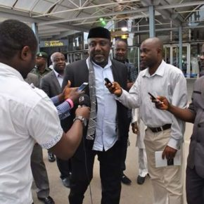 PHOTO OF THE DAY:  Governor Okorocha taking questions from the Press...