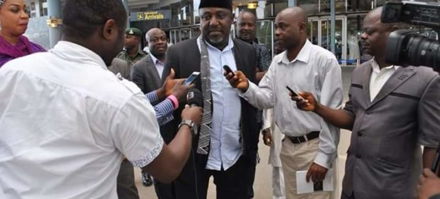 Governor Okorocha returns to Nigeria amidst rumours.